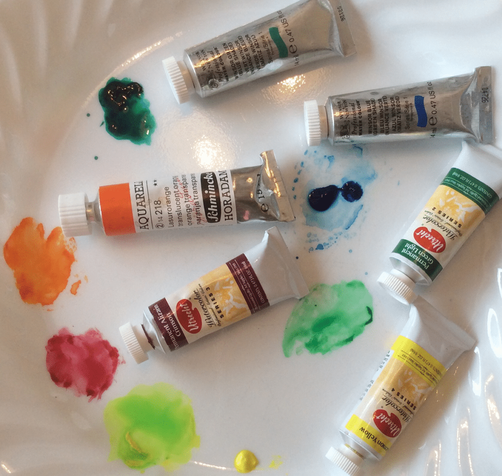 palette of watercolours