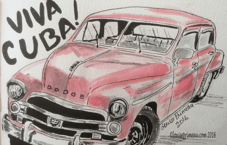 vintage car watercolour and ink sketch