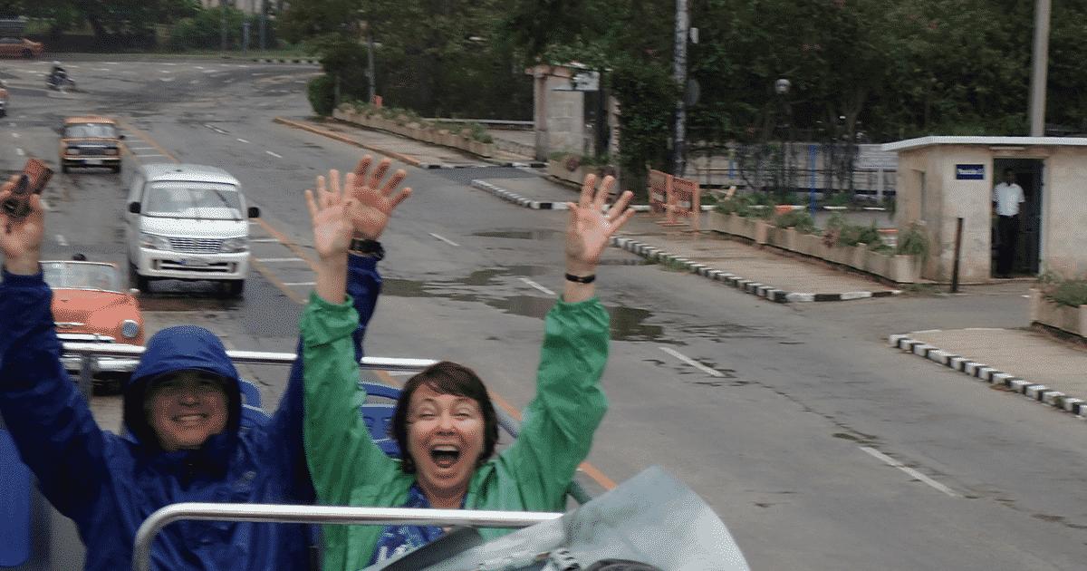 having fun in rain in Havana