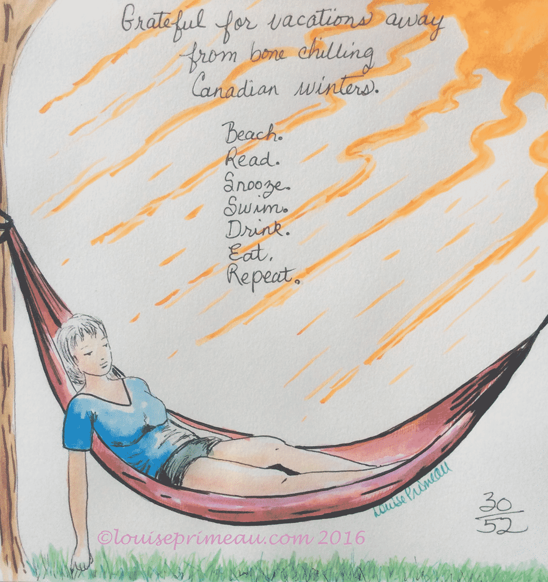 gratitude journal entry: vacations and getaways:watercolour and ink