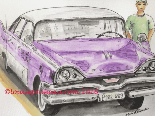 vintage car in watercolour