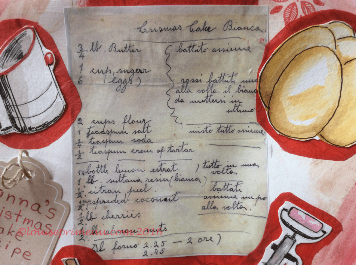 nonna's handwritten old-fashioned Christmas cake
