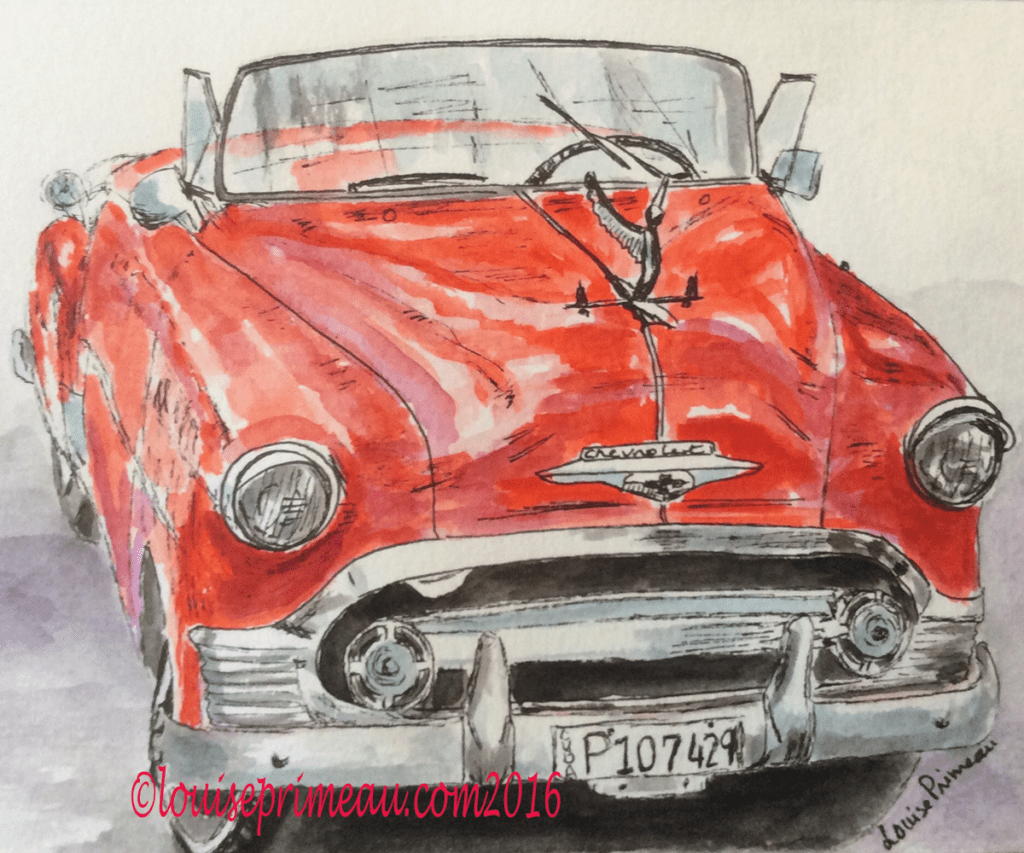 watercolour and ink sketch of 1953 Chevrolet Bel Air