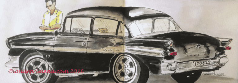 watercolour and ink sketch of vintage Pontiac Super Chief 1957