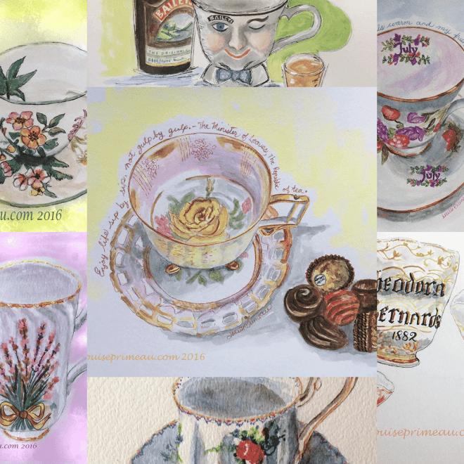teacup sampler in watercolours