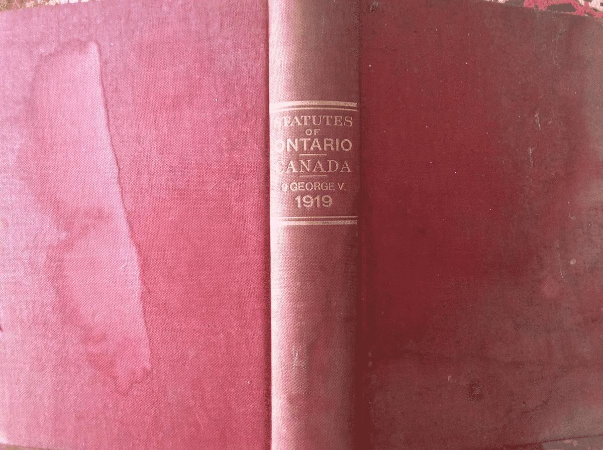 Ontario legislation 1919