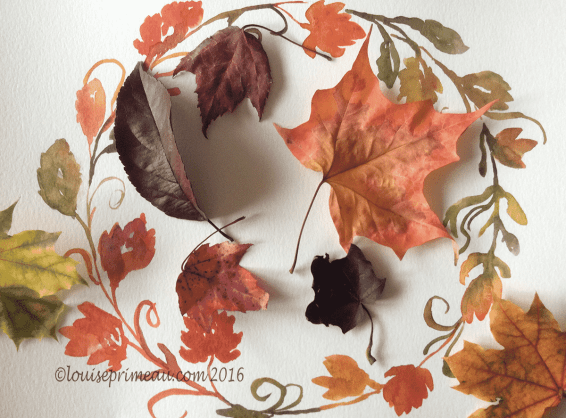 watercolour wreath and fall leaves