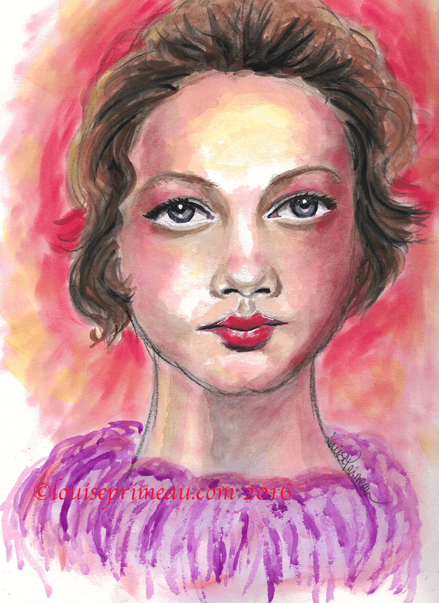 mixed media portrait Holiday Glow