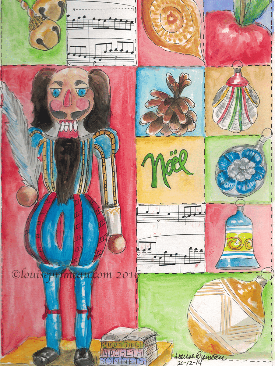 The nutcracker and other Christmas trinkets - watercolour journal entry