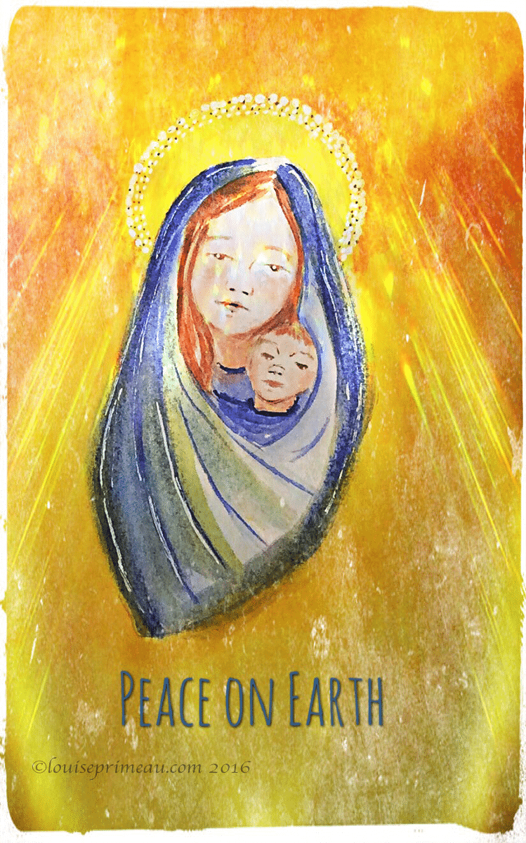 digitally reworked watercolour mother and child