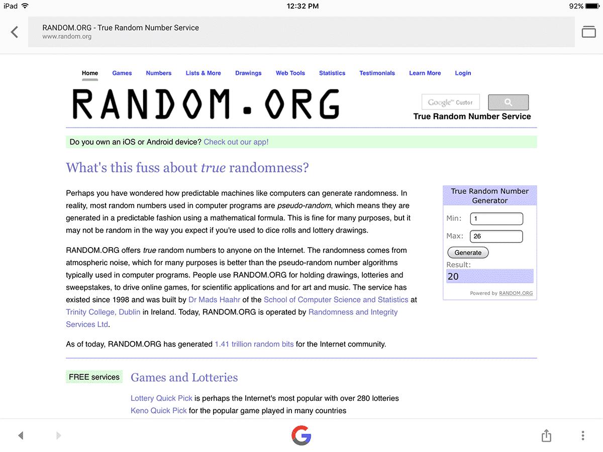 random number generator contest winner