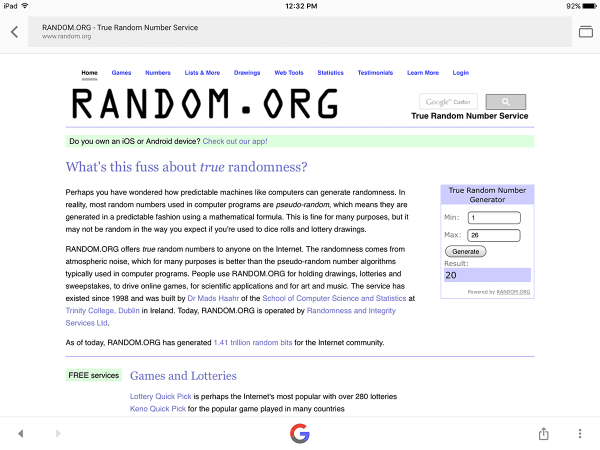 random number generator contest winner