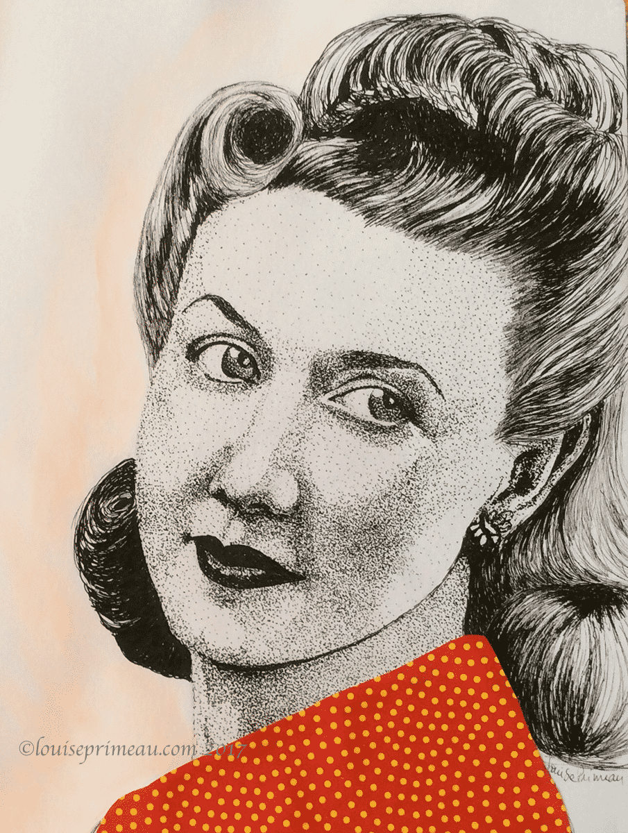 Vintage Portrait - pointillism and victory rolls