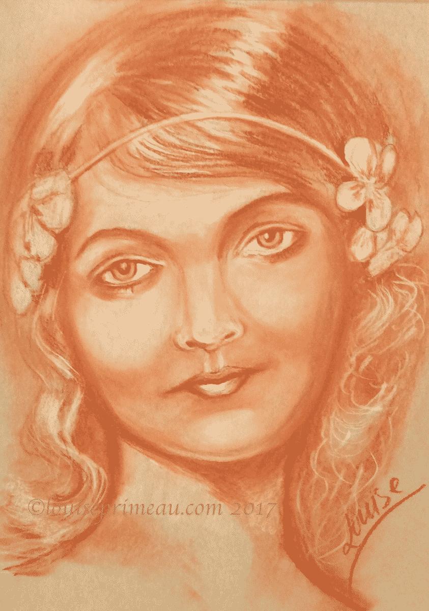 Conté de Paris sketch of vintage woman