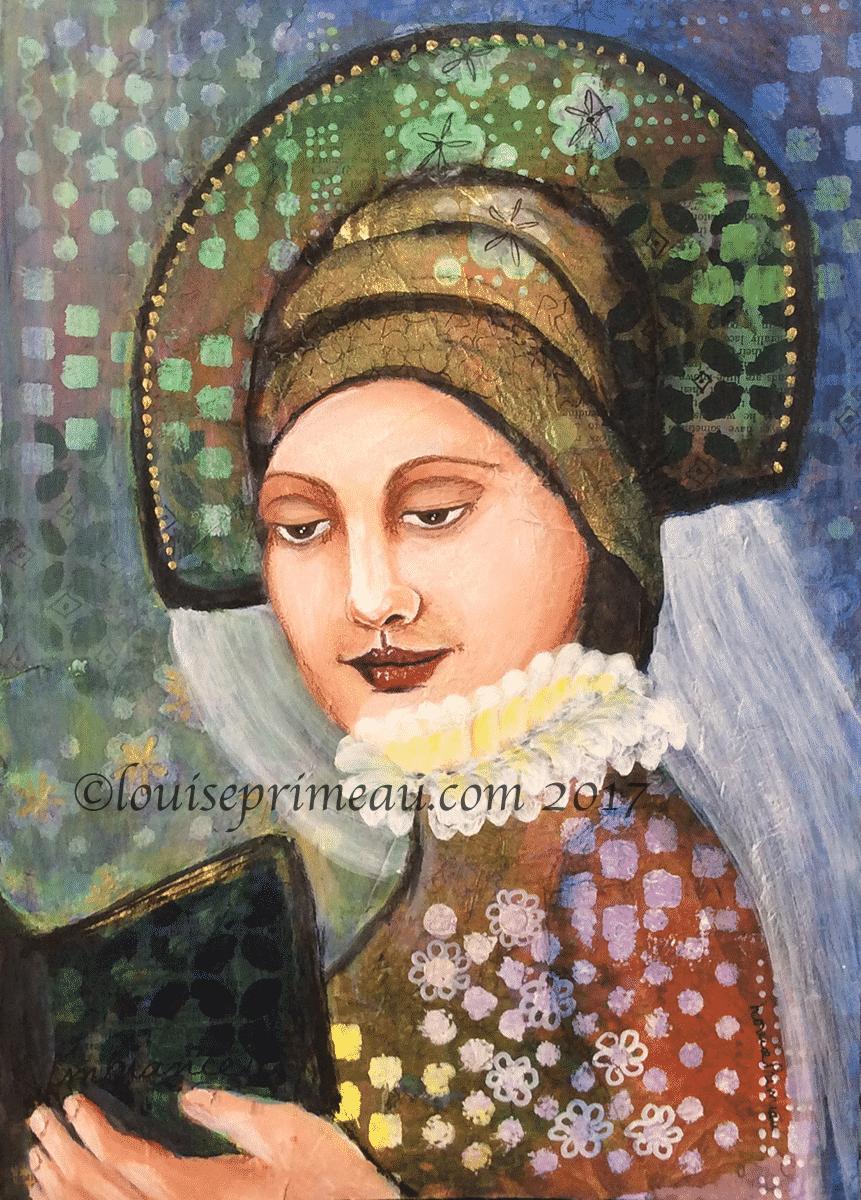 Lady Caterina - mixed media portrait