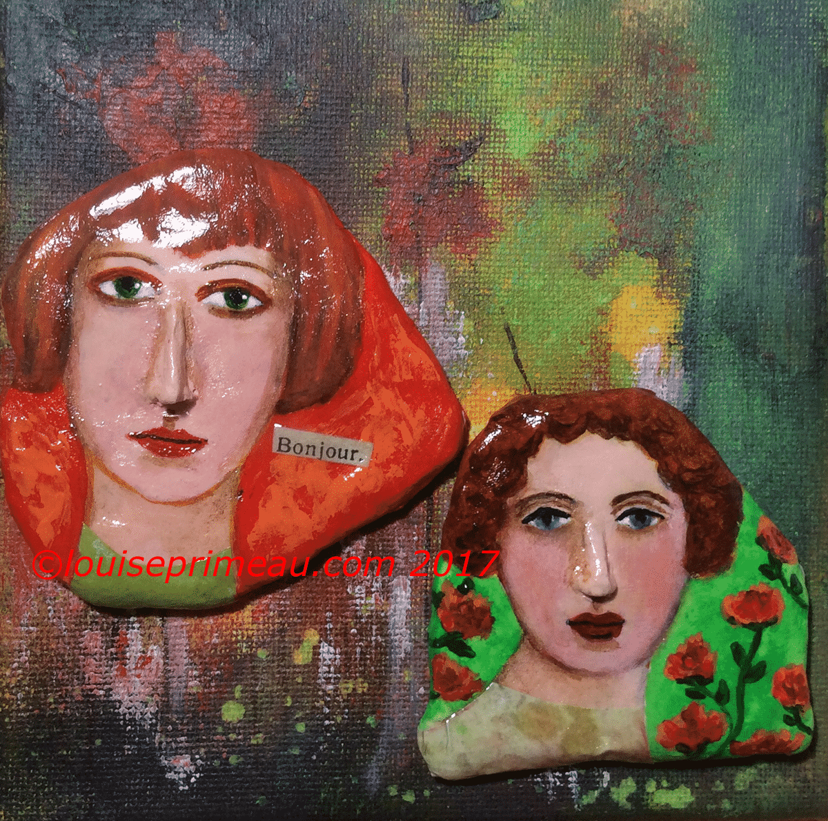 Michelle and Antonina, first set of clay brooches