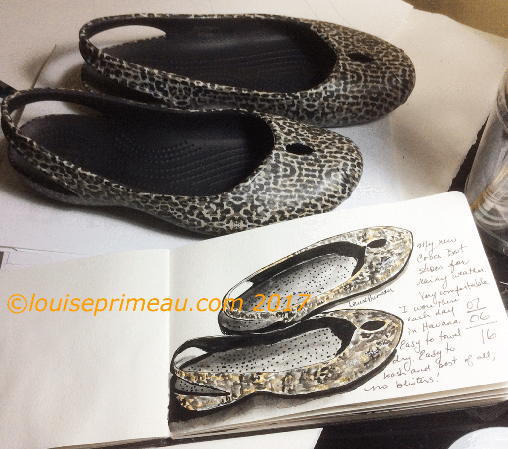 watercolour sketch of Crocs brand shoes - best for travelling in hot weather