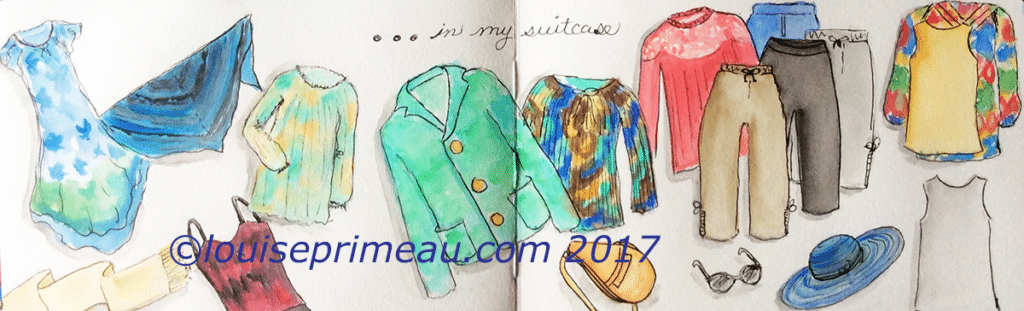 sketch of clothes in suitcase in travel journal