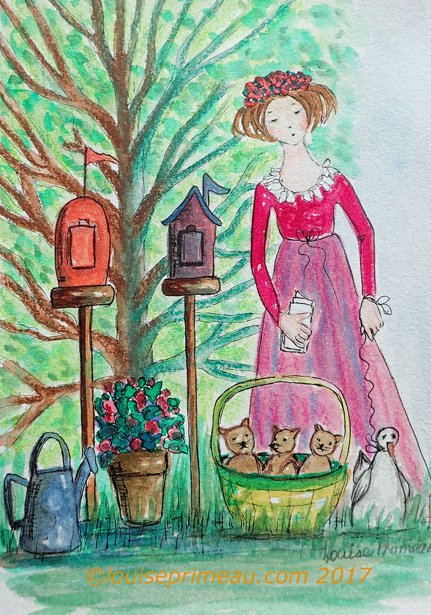 mixed media sketch based on a nursery rhyme