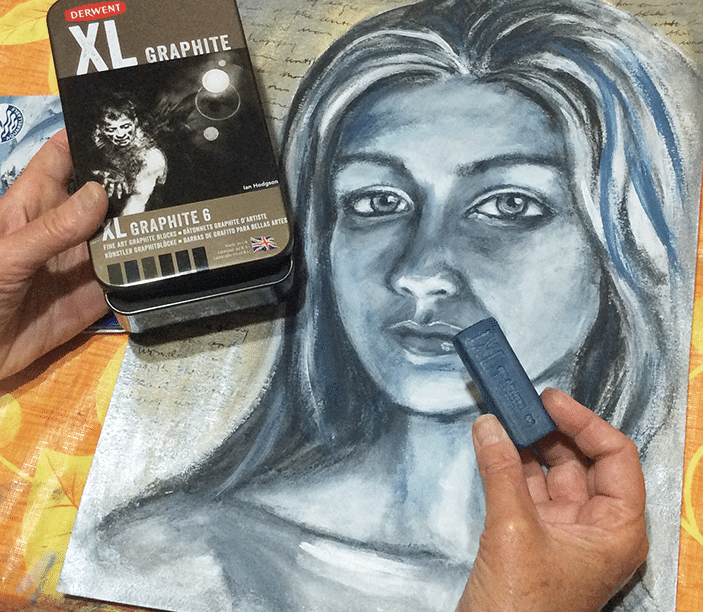 graphite blocks XL used in mixed media portrait