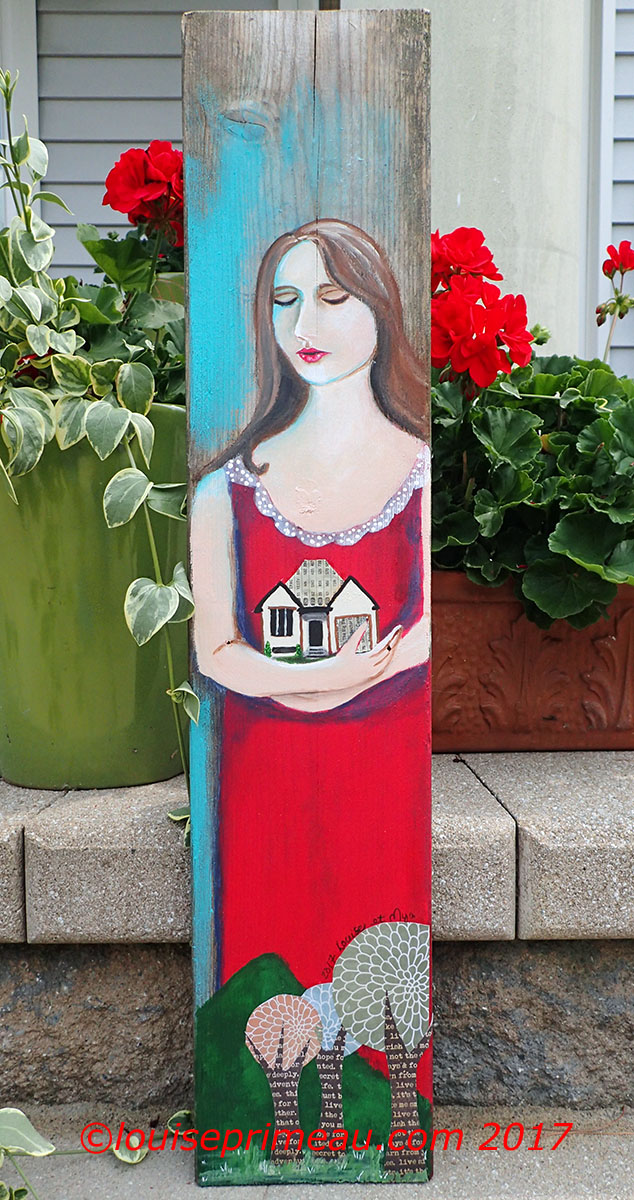 reclaimed wood housewarming gift - acrylic and collage