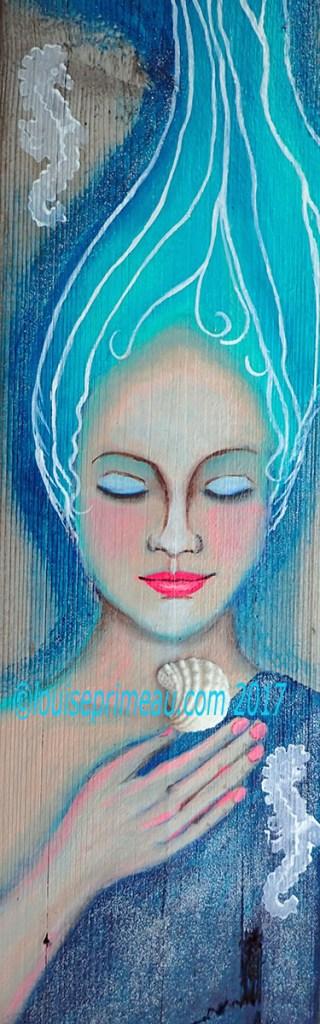 acrylic mermaid painted on reclaimed wood