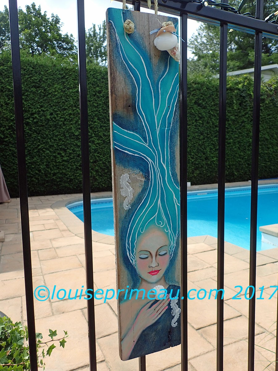 Mermaid On Reclaimed Wood Art