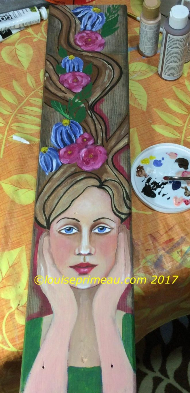 flower fairy on reclaimed wood deck board
