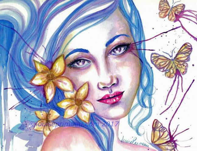 Mixed media fantasy painting - Only summer to your heart