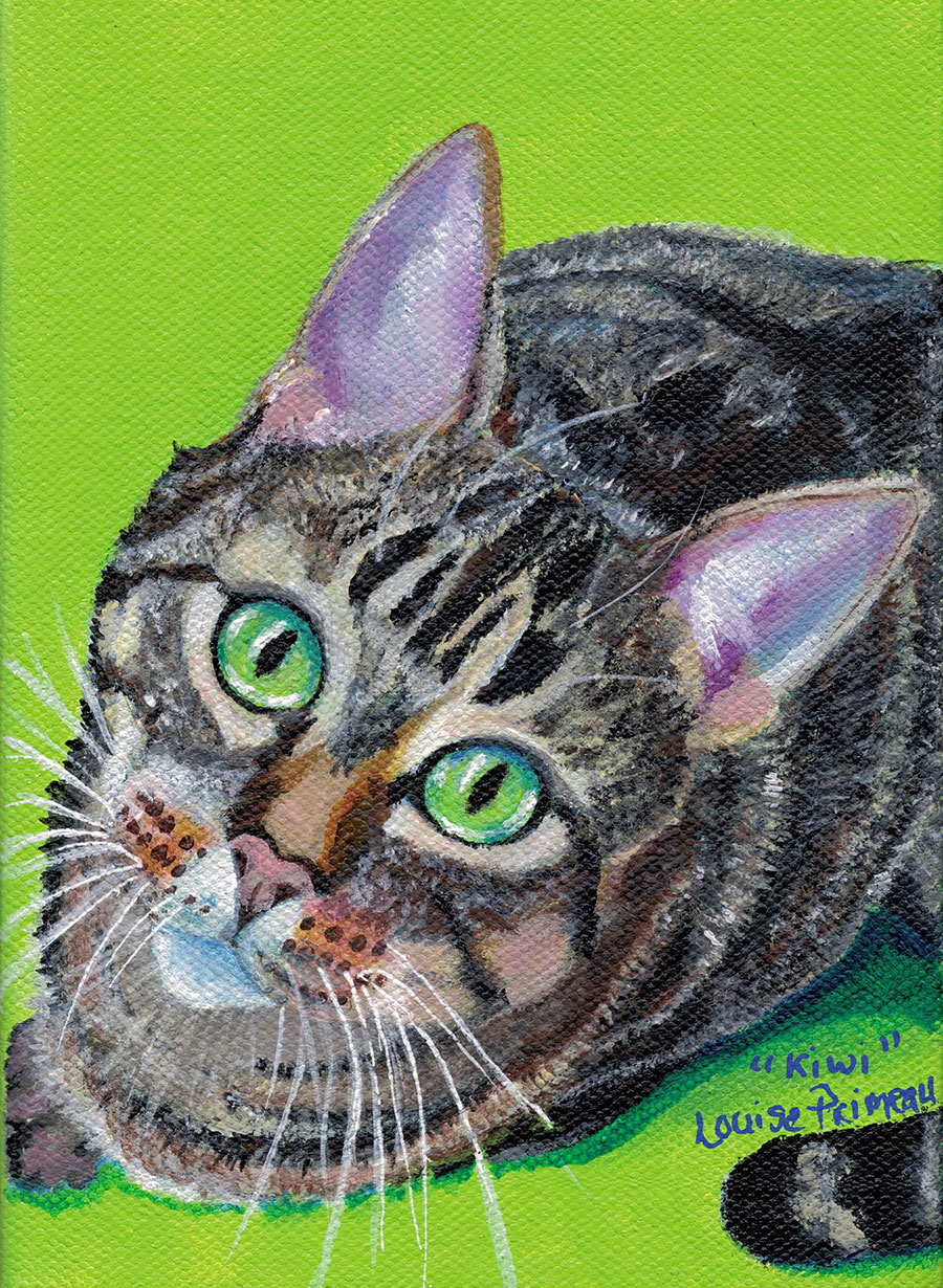 Acrylic Cat Portrait by Louise Primeau - mixed media artist