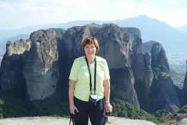 Louise at Meteora Greece in 2007
