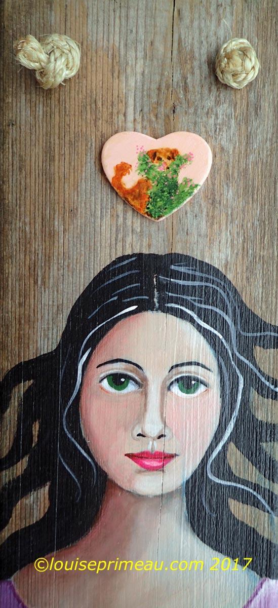 Reclaimed wood art - Golden girl