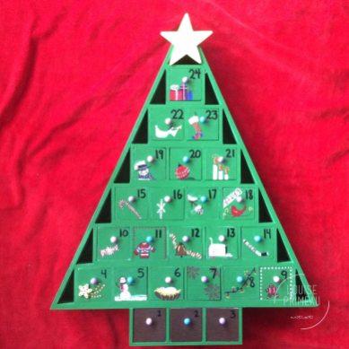 wooden hand painted advent calendar