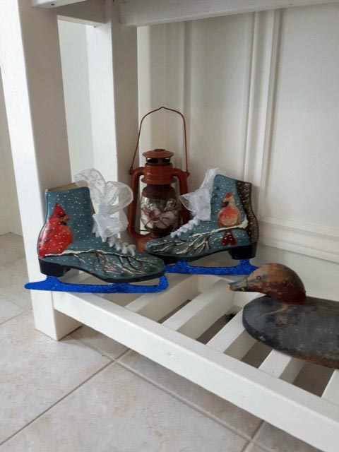 repurposed skates - painted with cardinals