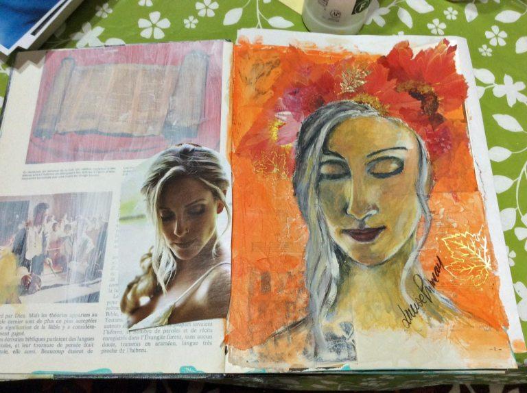 Step 5: adding more collage, shimmering leav