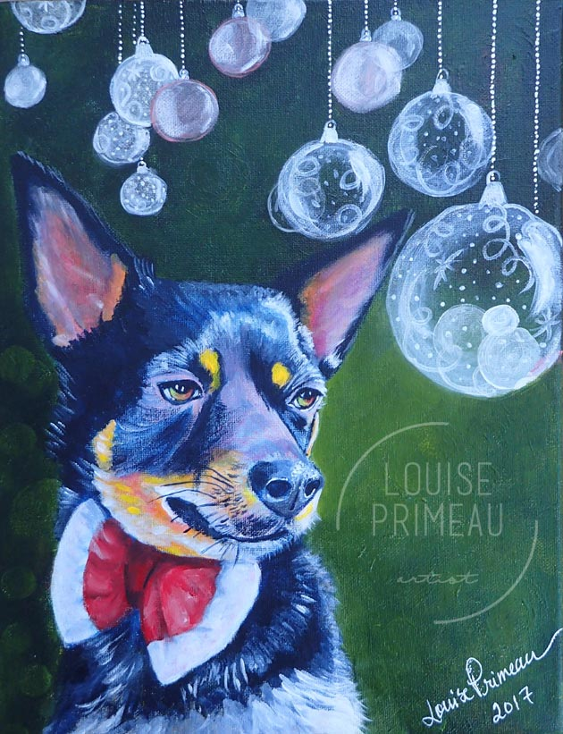 Custom pet portrait painted by Louise's ARTiculations