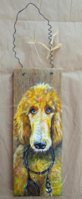 Standard Poodle on reclaimed wood by Louise's ARTiculations
