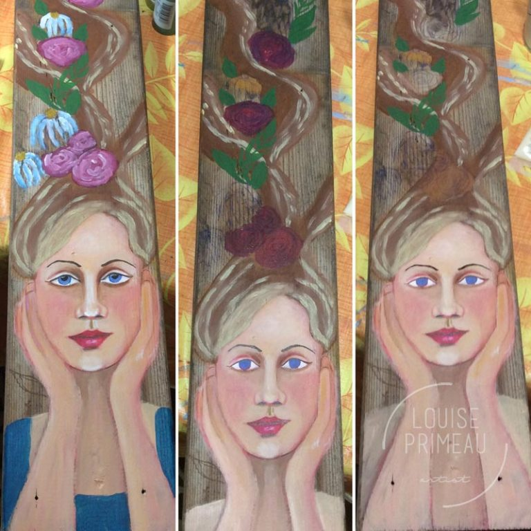 progress photos of flower fairy on reclaimed wood