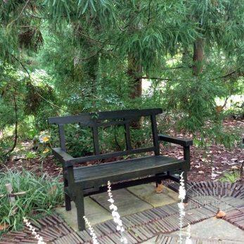 Asian themed bench at Chanticleer