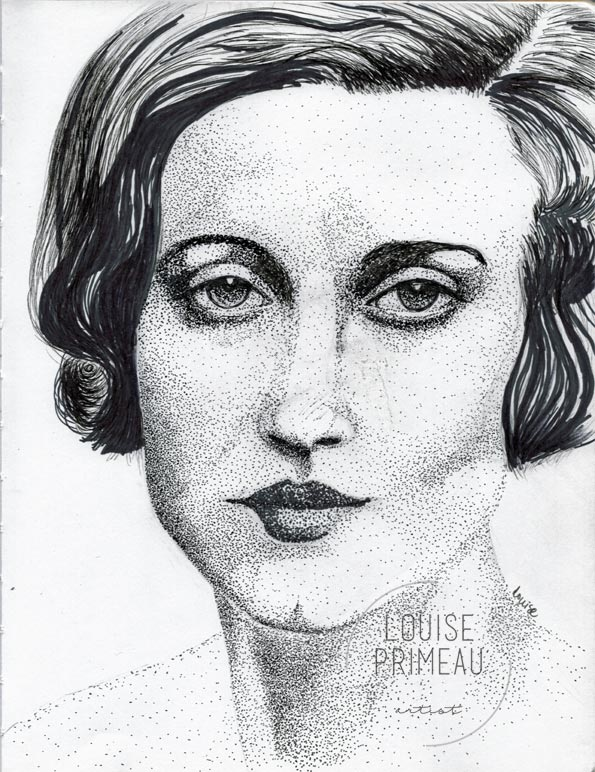 """Simone"" - pointillism in sketchbook"