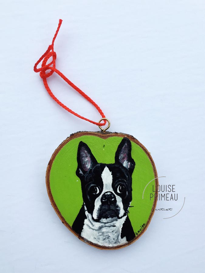 Bobby - custom pet portrait on wood slice by Louise's ARTiculations, Ottawa pet portrait artist.