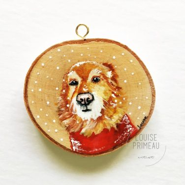 Emma -custom pet portrait on wood slice by Louise's ARTiculations, Ottawa pet portrait artist.