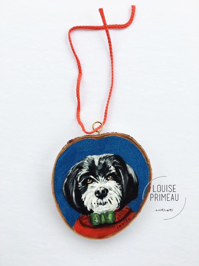 Jake -custom pet portrait on wood slice by Louise's ARTiculations, Ottawa pet portrait artist.