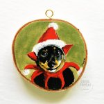Yoda - Wood slice pet portrait by Louise's ARTiculations