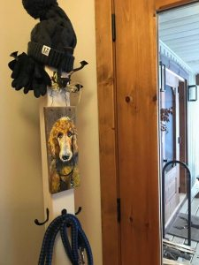pet portrait on reclaimed wood