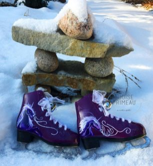 pair of painted skates by Ottawa artist, Louise Primeau