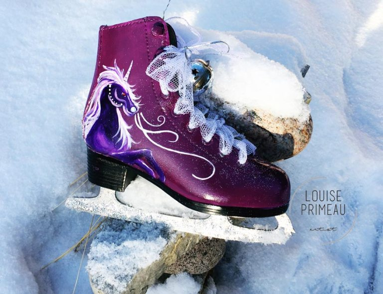 Male unicorn on painted skates by Ottawa artist, Louise Primeau