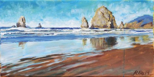 Haystack Rock by Rob Fitzsimmons, guest artist at Louise's ARTiculations