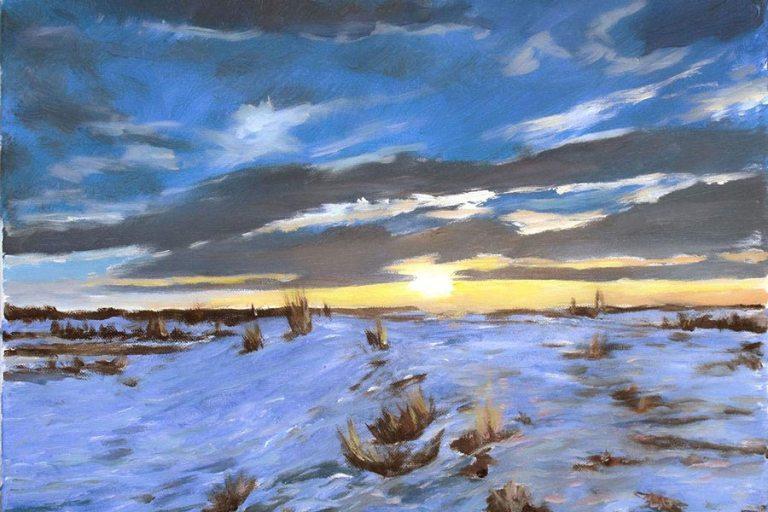 Saskatoon Winter Sunset by Robe Fitzsimmons, guest artist at Louise's ARTiculations