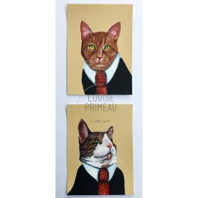Cats in suits. Commissioned custom pet portraits by Louise's ARTiculations